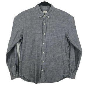 J Crew Gray Chambray Long Sleeve Button Down Shirt